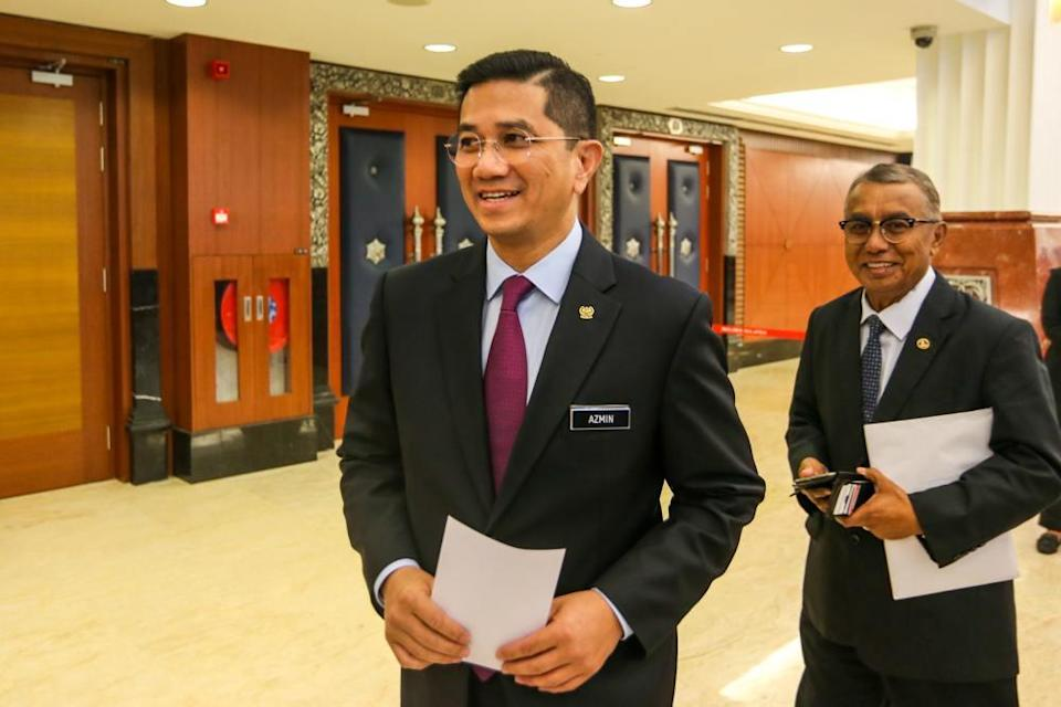Economic Affairs Minister Datuk Seri Mohamed Azmin Ali is pictured at Parliament in Kuala Lumpur October 22, 2019. ― Picture by Firdaus Latif
