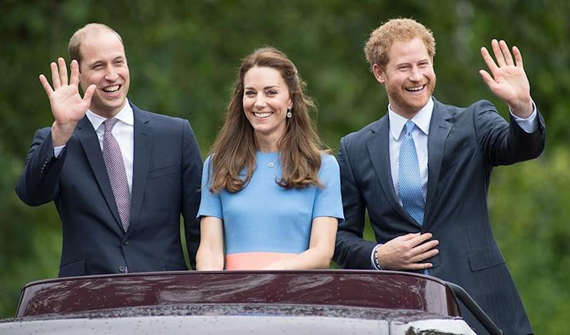 Prince William, Kate Middleton and Prince Harry. Photo: Getty Images.