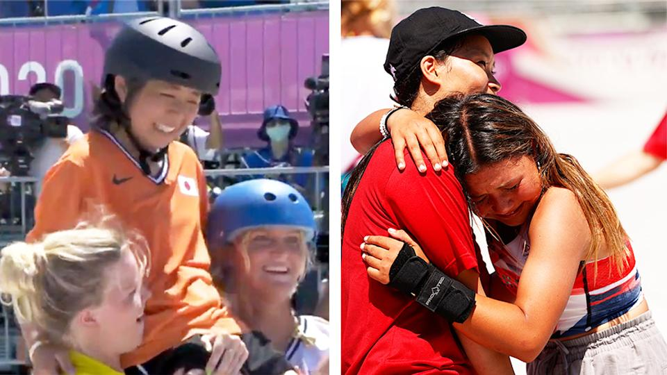 Misugo Okamoto (pictured left) was chaired off after her final skateboarding run at the Olympics and (pictured right) Sky Brown crying as Japan team member Sakura Yosozumi embraces her in Tokyo.