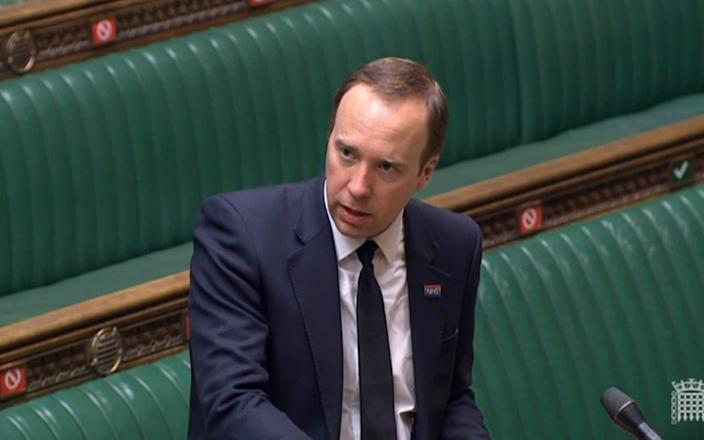 Matt Hancock answering questions in the House of Commons - PA