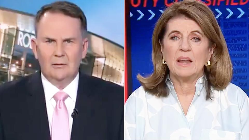 Tony Jones and Caroline Wilson clashed during a brief promotional spot for Footy Classified on Monday night, arguing over the merits of Lachie Neale's trade request from Brisbane. Pictures: Channel 9