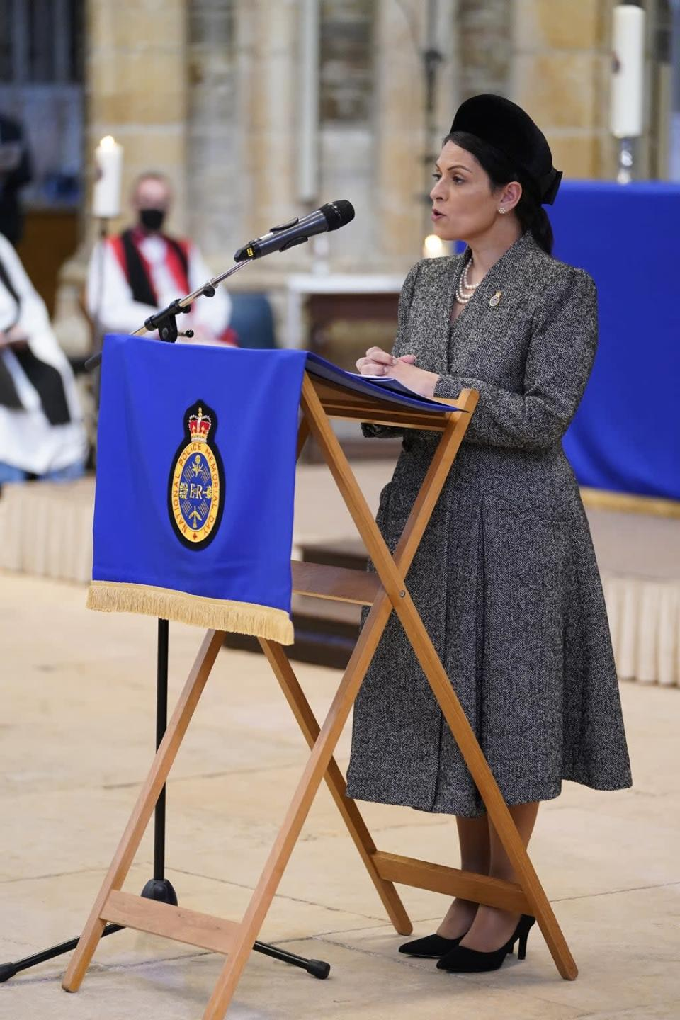 Home Secretary Priti Patel read a passage from the Bible to mark NPMD at Lincoln Cathedral (Danny Lawson/PA) (PA Wire)