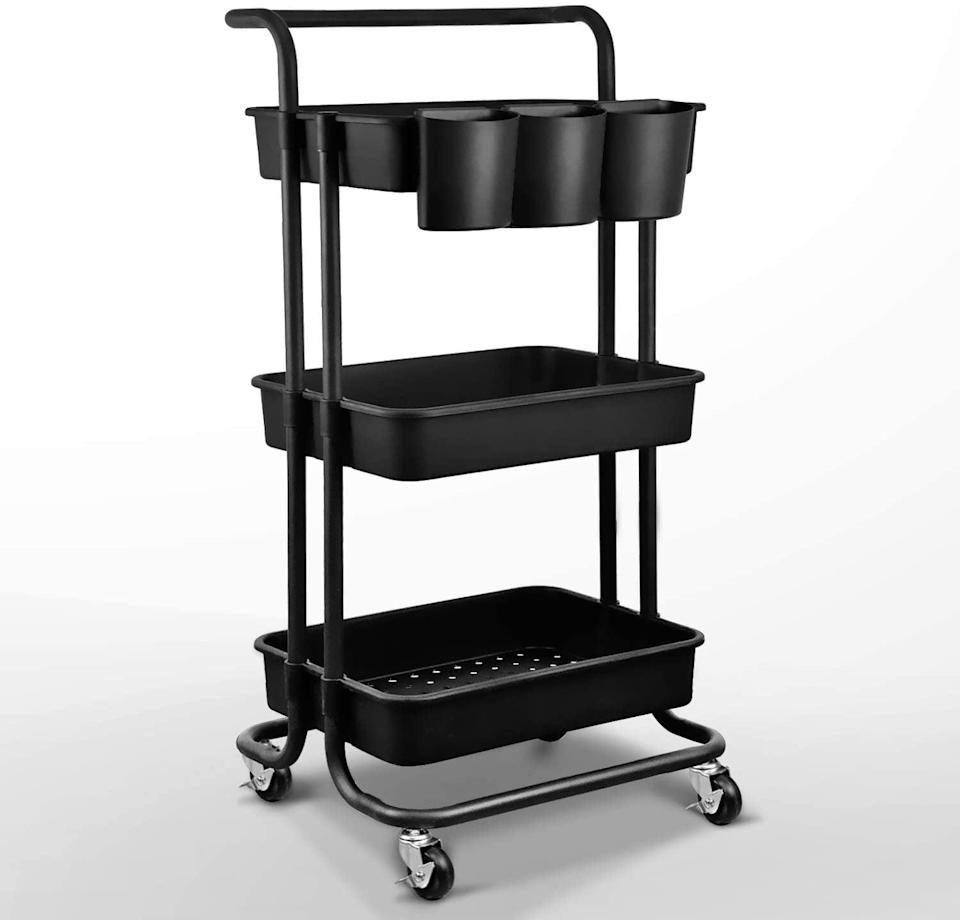 <p>The <span>Asoopher 3-Tier Rolling Utility Cart</span> ($30) will help you get organzied whether it's your bathroom, living room, or even your kitchen. It's a three-tier rolling cart that comes with three hanging baskets. It comes in white as well. </p>