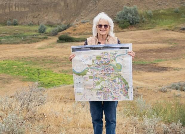 Teresa Vanderhorst, 80, has now walked the entire city of Medicine Hat 13 times, at a pace of 120 steps per minute and about four kilometres a day. (Submitted by Angie Cramer - image credit)
