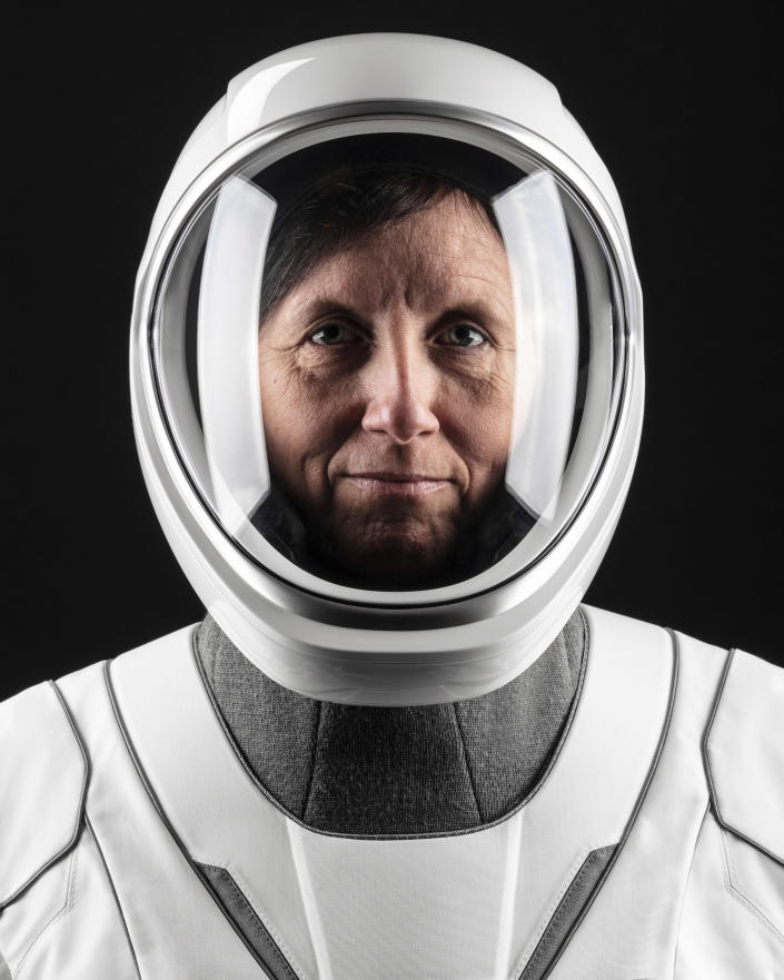 This June 25, 2020, photo made available by SpaceX shows NASA astronaut Shannon Walker in a space suit at SpaceX headquarters in Hawthorne, Calif. (Sam Friedman/SpaceX via AP)