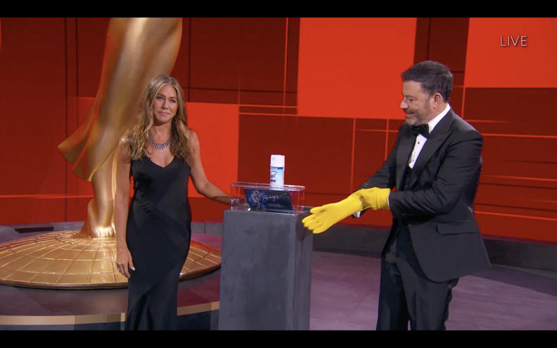Jenniffer Aniston Jimmy Kimmel Emmy Awards 2020 covid