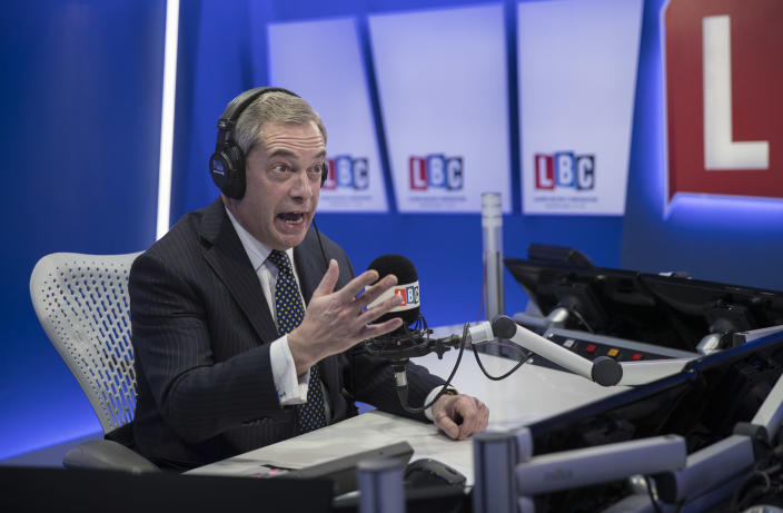Nigel Farage presented five shows a week on LBC. (Getty Images)
