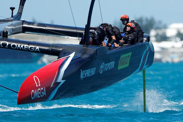 Sailing - America's Cup finals - Hamilton, Bermuda - June 25, 2017 - Helmsman Peter Burling drives Emirates Team New Zealand to win over Oracle Team USA in race seven in America's Cup finals . REUTERS/Mike Segar