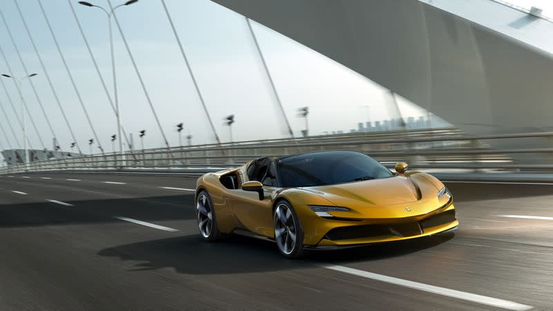 Luxury carmaker Ferrari unveils its new model, the second to be launched this year