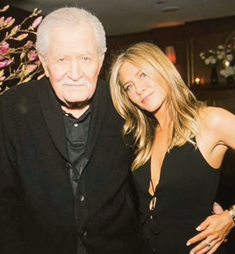 Jennifer Aniston and her father John Aniston at an event.
