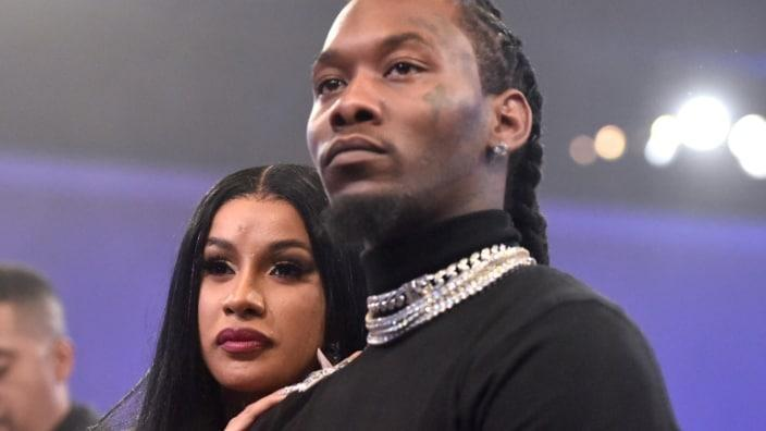 """Wife-and-husband rappers Cardi B (left) and Offset (right) of Migos watch the stageshow at the pre-Grammy Awards salute to Sean """"Diddy"""" Combs in Jan. 2020 in Beverly Hills. (Photo: Alberto E. Rodriguez/Getty Images for The Recording Academy)"""
