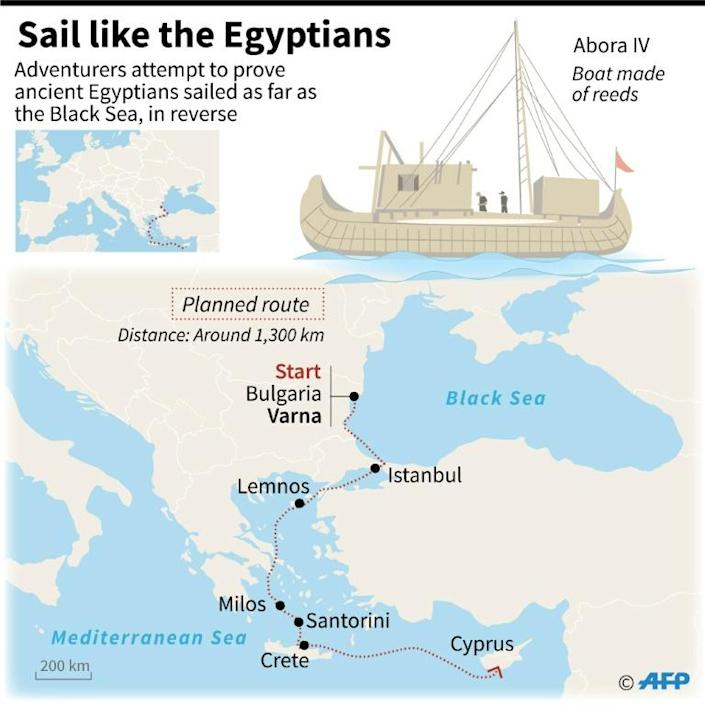 Graphic of the reed boat and map of the route planned by a group of adventurers who will attempt to prove ancient Egyptians sailed as far as the Black Sea to trade. (AFP Photo/Simon MALFATTO)