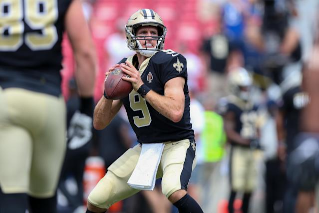 "<a class=""link rapid-noclick-resp"" href=""/nfl/teams/new-orleans/"" data-ylk=""slk:Saints"">Saints</a> quarterback Drew <a class=""link rapid-noclick-resp"" href=""/nfl/players/5479/"" data-ylk=""slk:Brees"">Brees</a> is expected to return this week after recovering from a hand injury. (Getty)"