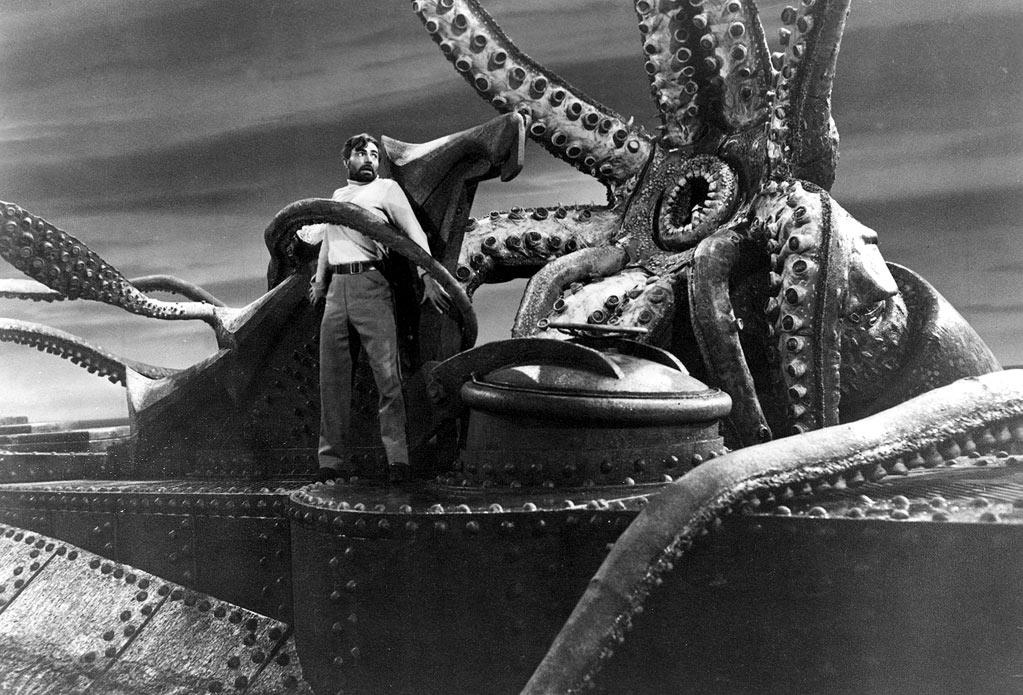 "7. GIANT SQUID - <a href=""http://movies.yahoo.com/movie/1800340318/info"">20,000 Leagues Under the Sea</a> (1954)   Despite being on screen for only a few of the film's 127 minutes, the giant squid made great use of its limited time by terrifying viewers with its towering tentacles."