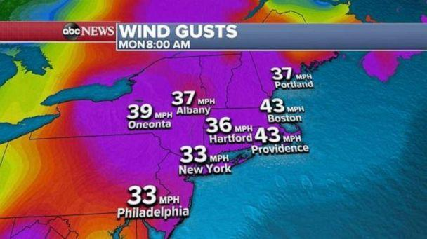 PHOTO: With heavy rain and thunderstorms moving across the Northeast by this afternoon, wind alerts are also in effect with gusts up 43 mph possible. (ABC News)