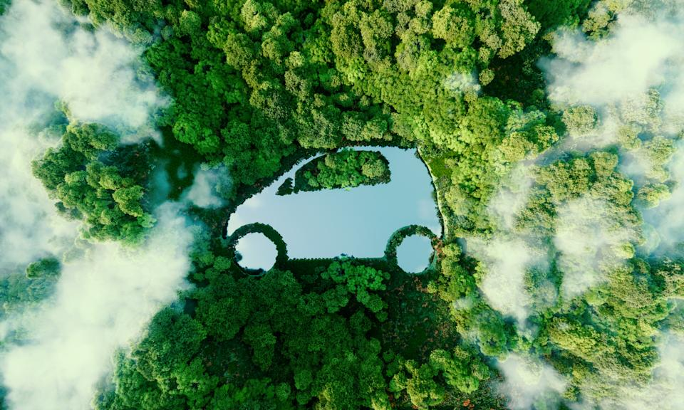 Concept depicting new possibilities for the development of electric and hybrid cars and the issue of ecological travel in the form of a car-shaped pond located in a lush forest. 3d rendering.