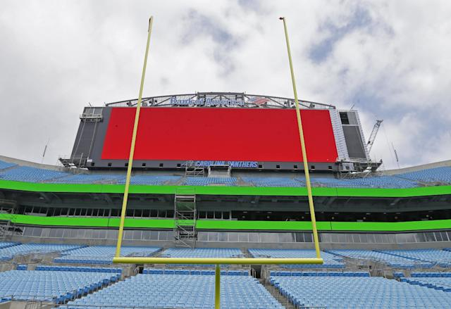 The new, larger video board is tested at the Carolina Panthers' home football field, Bank of America Stadium, in Charlotte, N.C., Wednesday, June 25, 2014. The stadium has been undergoing renovations which are expected to be completed this summer. (AP Photo/Chuck Burton)