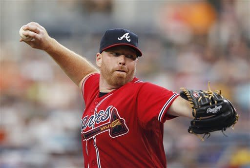 Atlanta Braves starting pitcher Tommy Hanson works in the first inning of a baseball game against the Los Angeles Dodgers, Friday, Aug. 17, 2012, in Atlanta. (AP Photo/John Bazemore)