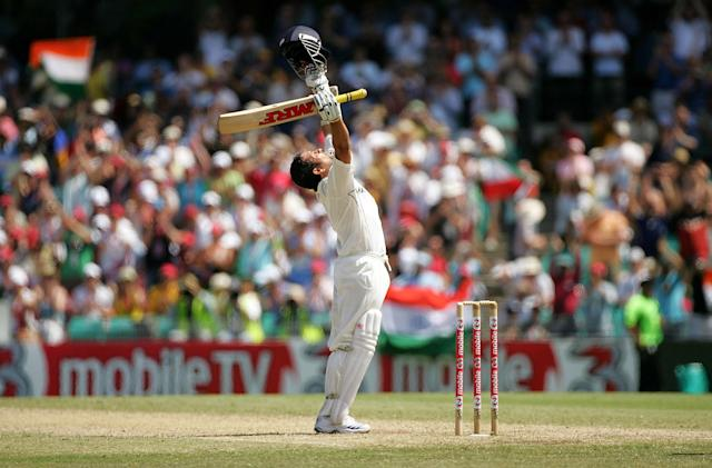 SYDNEY, AUSTRALIA - JANUARY 04: Sachin Tendulkar of India celebrates his century during day three of the Second Test match between Australia and India at the Sydney Cricket Ground on January 4, 2008 in Sydney, Australia. (Photo by Ezra Shaw/Getty Images)