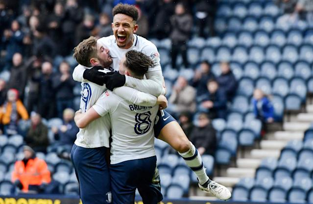 "Soccer Football - Championship - Preston North End vs Hull City - Deepdale, Preston, Britain - February 3, 2018 Preston's Alan Browne celebrates with Callum Robinson and Tom Barkhuizen after scoring their second goal from the penalty spot Action Images/Paul Burrows EDITORIAL USE ONLY. No use with unauthorized audio, video, data, fixture lists, club/league logos or ""live"" services. Online in-match use limited to 75 images, no video emulation. No use in betting, games or single club/league/player publications. Please contact your account representative for further details."