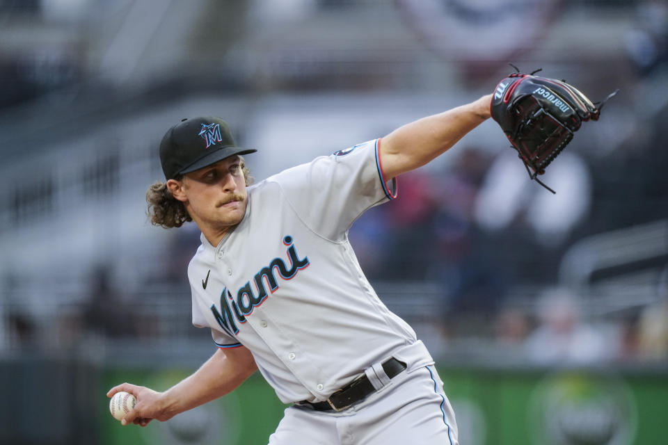 Miami Marlins starting pitcher Nick Neidert winds up during the first inning of the team's baseball game against the Atlanta Braves on Wednesday, April 14, 2021, in Atlanta. (AP Photo/Brynn Anderson)