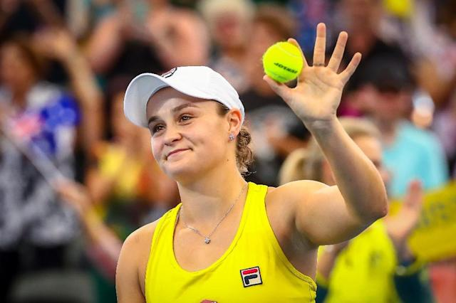 Ashleigh Barty helped guide Australia to victory over Belarus (AFP Photo/Patrick HAMILTON)