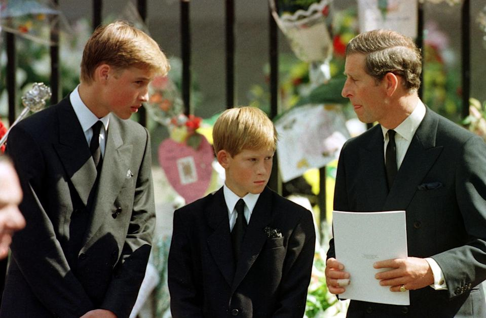 William and Harry with their father on the day of Diana's funeral (PA)