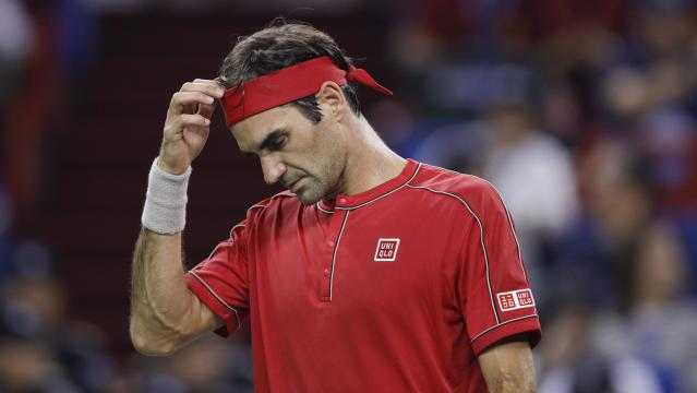Roger Federer of Switzerland reacts against Alexander Zverev of Germany in Shanghai, China. (Fred Lee/Getty Images)