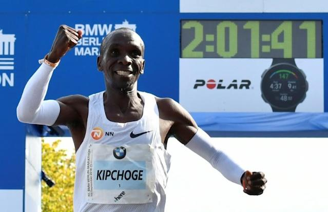 Eliud Kipchoge blistering winning time at the 2018 Berlin Marathon remains a world record (AFP Photo/John MACDOUGALL)