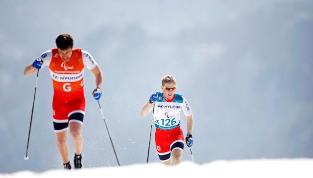 Cross-Country Skiing - Pyeongchang 2018 Winter Paralympics - Men's 1.5km Sprint Classic - Visually Impaired - Qualification - Alpensia Biathlon Centre - Pyeongchang, South Korea - March 14, 2018 - Eirik Bye of Norway. REUTERS/Carl Recine