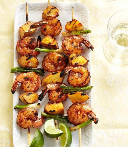 """<p>For this flame-fired dish, shrimp and ripe peaches (plus the carmelized juices) are seasoned with a smoky cumin-and-chile rub.</p><p><em><a href=""""https://www.goodhousekeeping.com/food-recipes/a10965/barbecued-shrimp-peach-kabobs-recipe-ghk0711/"""" rel=""""nofollow noopener"""" target=""""_blank"""" data-ylk=""""slk:Get the recipe for Barbecued Shrimp and Peach Kabobs »"""" class=""""link rapid-noclick-resp"""">Get the recipe for Barbecued Shrimp and Peach Kabobs »</a></em></p><p><strong>RELATED:</strong> <a href=""""https://www.goodhousekeeping.com/food-recipes/cooking/g27556949/types-of-peaches/"""" rel=""""nofollow noopener"""" target=""""_blank"""" data-ylk=""""slk:The 4 Types of Peaches You'll Be Eating All Summer Long"""" class=""""link rapid-noclick-resp"""">The 4 Types of Peaches You'll Be Eating All Summer Long</a></p>"""