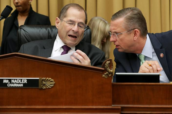 House Judiciary Chairman Jerrold Nadler (D-N.Y.) (L) talks with ranking member Rep. Doug Collins (R-Georgia) before a hearing about the Mueller Reporter in the Rayburn House Office Building on Capitol Hill June 10, 2019, in Washington, D.C.