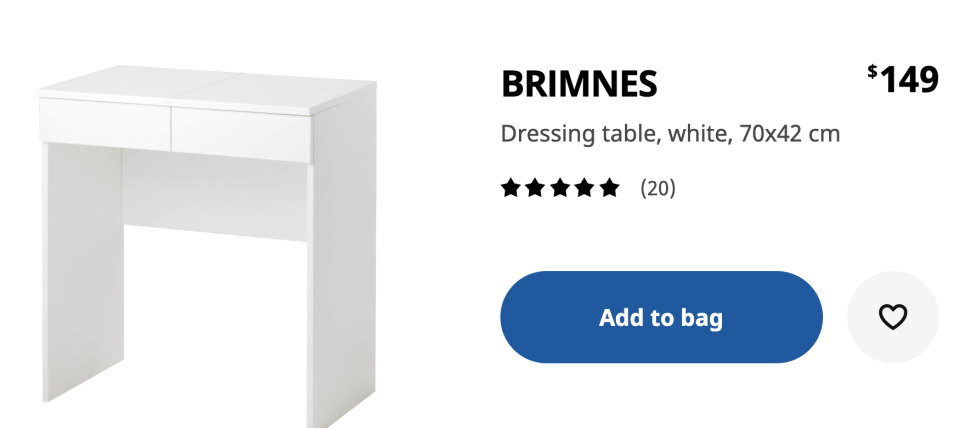 The BRIMNES dressing table from Ikea before its transformation. Photo: Ikea.