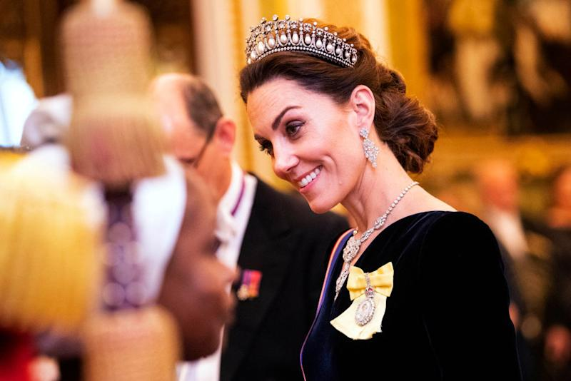 The Duchess opted to wear Princess Diana's Lovers Knot tiara [Photo: Getty]