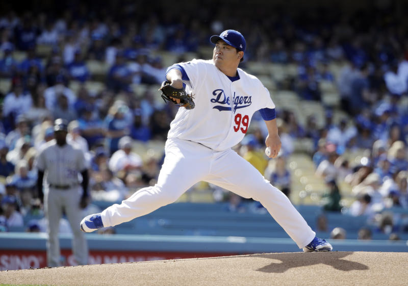 Los Angeles Dodgers starting pitcher Hyun-Jin Ryu throws to a Colorado Rockies batter during the first inning of a baseball game Saturday, June 22, 2019, in Los Angeles. (AP Photo/Marcio Jose Sanchez)