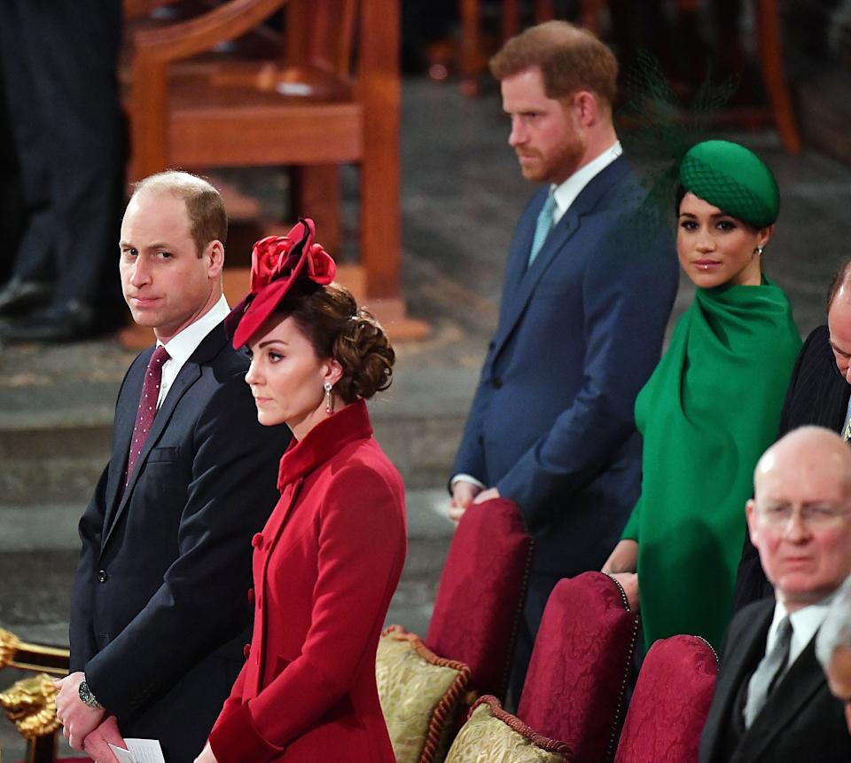 Britain's Prince Harry, Duke of Sussex, (2nd R) and Britain's Meghan, Duchess of Sussex (R) sit behind Britain's Prince William (L), Duke of Cambridge and Britain's Catherine, Duchess of Cambridge (2nd L) inside Westminster Abbey as they attend the annual Commonwealth Service in London on March 9, 2020. - Britain's Queen Elizabeth II has been the Head of the Commonwealth throughout her reign. Organised by the Royal Commonwealth Society, the Service is the largest annual inter-faith gathering in the United Kingdom. (Photo by Phil HARRIS / POOL / AFP) (Photo by PHIL HARRIS/POOL/AFP via Getty Images)