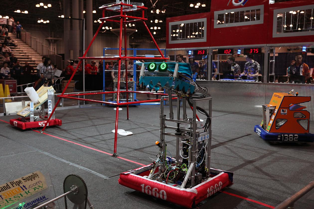 For the remainder of the match, drivers control robots and try to maximize their points by scoring as many goals as possible.