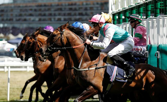 Horse Racing - Royal Ascot - Ascot Racecourse, Ascot, Britain - June 21, 2018 Sun Maiden ridden by James Doyle during the start of the 3.40 Ribblesdale Stakes Action Images via Reuters/Andrew Boyers