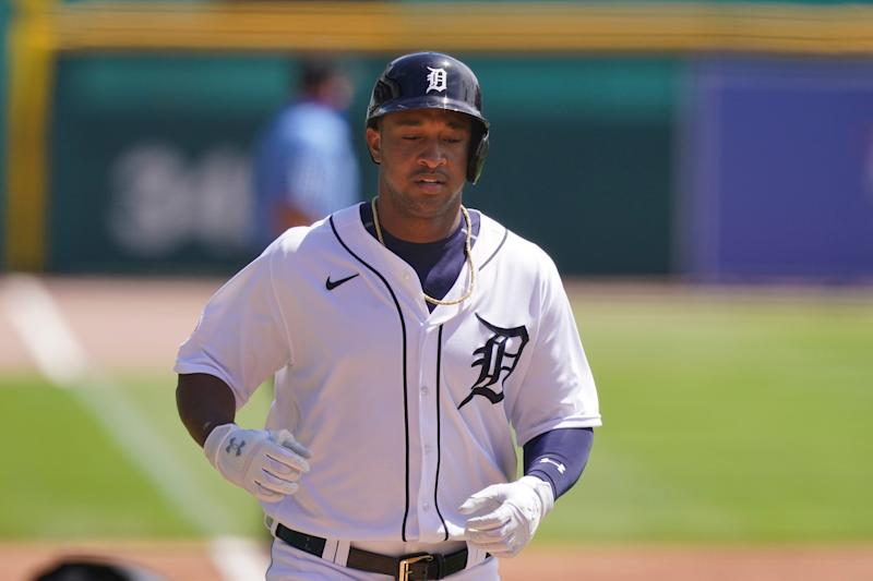 Tigers second baseman Jonathan Schoop scores after a solo home run during the first inning on Wednesday, Aug. 12, 2020, at Comerica Park.