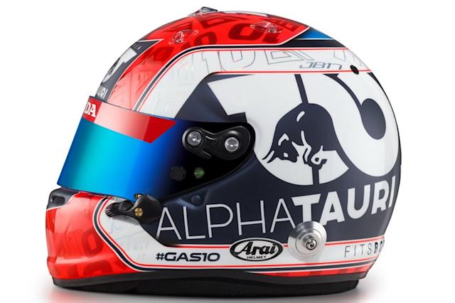 "Casco de Pierre Gasly, AlphaTauri <span class=""copyright"">Red Bull Content Pool</span>"