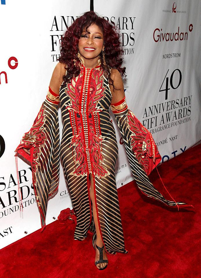 Singer Chaka Khan, who recently shed 60 pounds, flaunted her newly slim figure in an attention-grabbing dress that looked more suited for a Las Vegas show than a swanky soiree. Oh well, she seems to like it! (5/21/2012)