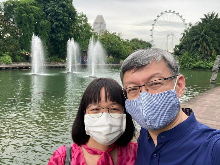 Dr Lim and husband at Gardens by the Bay in Singapore