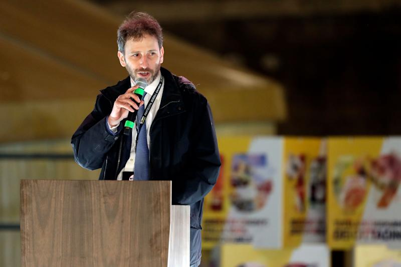 Davide Casaleggio speaks at Five-Star Movement (M5S) party's final rally in Rome, Friday, March 2, 2018. General elections in Italy will be held Sunday. (AP Photo/Andrew Medichini) (Photo: ASSOCIATED PRESS)
