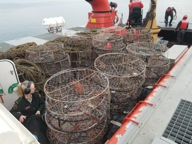 These illegal crab traps were seized earlier this year during a five-day, joint operation in Boundary Bay involving the Canadian Coast Guard and DFO.