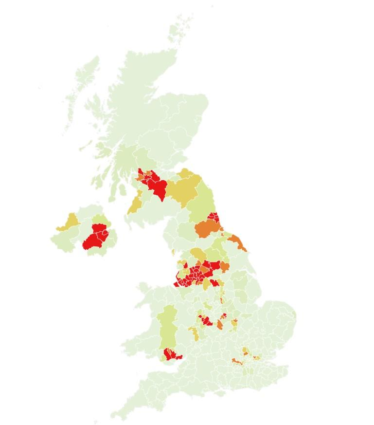 Map showing the current hotspots in the UK. (Imperial College London)