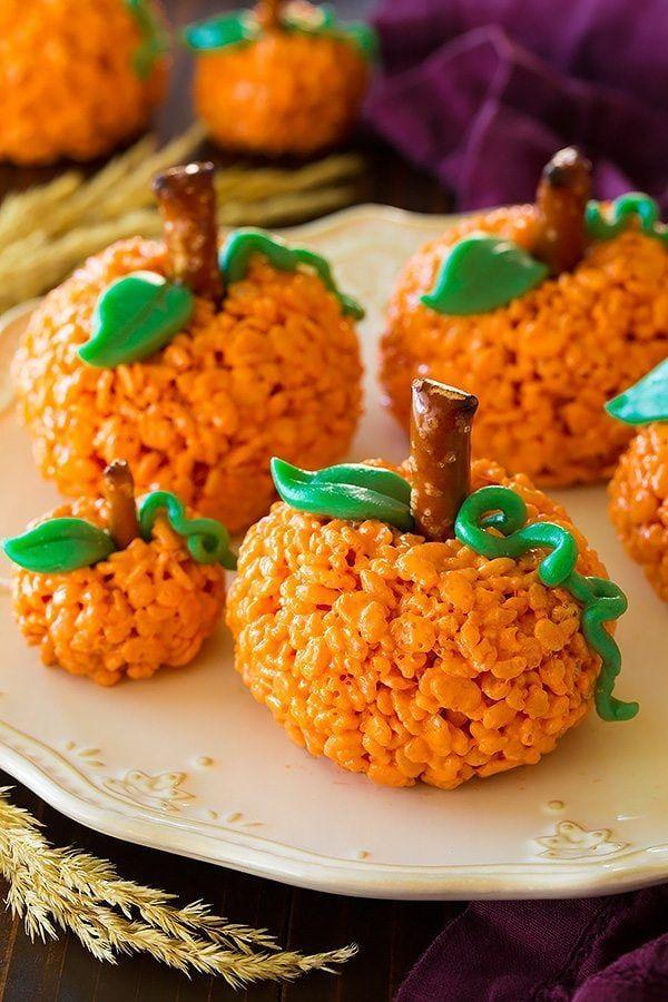 """<p>Tint the classic treats you know and love orange, then shape them into rounds and top with pretzel and green candies. This recipe doubles as a fun, edible craft to try with your kids.</p><p><strong>Get the recipe at <a href=""""https://www.cookingclassy.com/pumpkin-rice-krispie-treats/"""" rel=""""nofollow noopener"""" target=""""_blank"""" data-ylk=""""slk:Cooking Classy"""" class=""""link rapid-noclick-resp"""">Cooking Classy</a>.</strong></p><p><a class=""""link rapid-noclick-resp"""" href=""""https://go.redirectingat.com?id=74968X1596630&url=https%3A%2F%2Fwww.walmart.com%2Fbrowse%2Fhome%2Ffood-storage-containers%2Fthe-pioneer-woman%2F4044_623679_1032619_5842891%2FYnJhbmQ6VGhlIFBpb25lZXIgV29tYW4ie&sref=https%3A%2F%2Fwww.thepioneerwoman.com%2Ffood-cooking%2Fmeals-menus%2Fg32110899%2Fbest-halloween-desserts%2F"""" rel=""""nofollow noopener"""" target=""""_blank"""" data-ylk=""""slk:SHOP FOOD STORAGE"""">SHOP FOOD STORAGE </a></p>"""