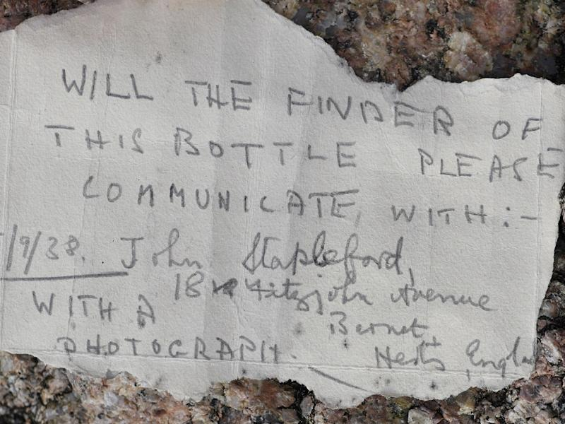 A message in a bottle dating back to September 1938 was found washed up on a beach on the Channel Island of Jersey by Nigel Hill on 18 February 2020: Jersey Evening Post/SWNS