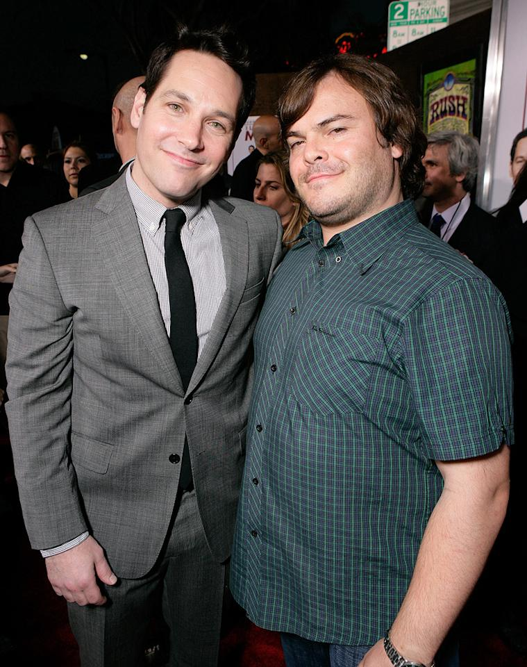 "<a href=""http://movies.yahoo.com/movie/contributor/1800018571"">Paul Rudd</a> and <a href=""http://movies.yahoo.com/movie/contributor/1800180457"">Jack Black</a> at the Los Angeles premiere of <a href=""http://movies.yahoo.com/movie/1810022085/info"">I Love You, Man</a> - 03/17/2009"