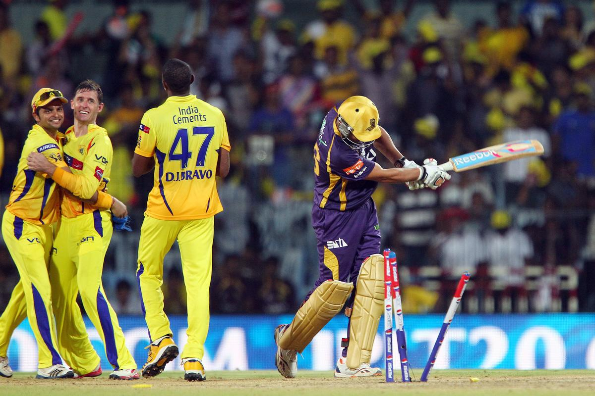 Michael Hussey celebrates the wicket of Manvinder Bisla during match 38 of the Pepsi Indian Premier League between The Chennai Superkings and the Kolkata Knight Riders held at the MA Chidambaram Stadiumin Chennai on the 28th April 2013. (BCCI)