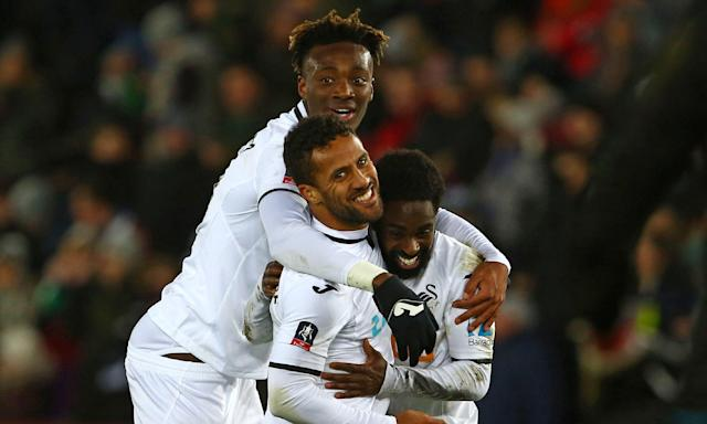 From top: Tammy Abraham, Wayne Routledge and Nathan Dyer were all on the scoresheet in Swansea's thrashing of Notts County.